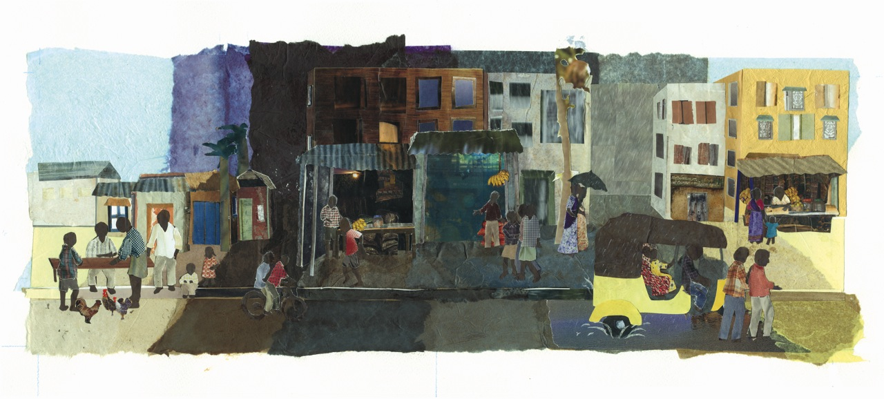 Cut-paper illustration, Chenai, India street scene, by Ellen Gaffney
